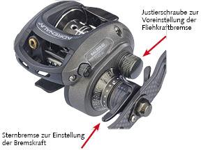 BALZER - Baitcastrolle - Fliehkraftbremse und Sternbremse